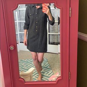 Herringbone wool collared mini shift dress